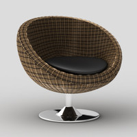 Rattan papasan style swivel chair Oliana